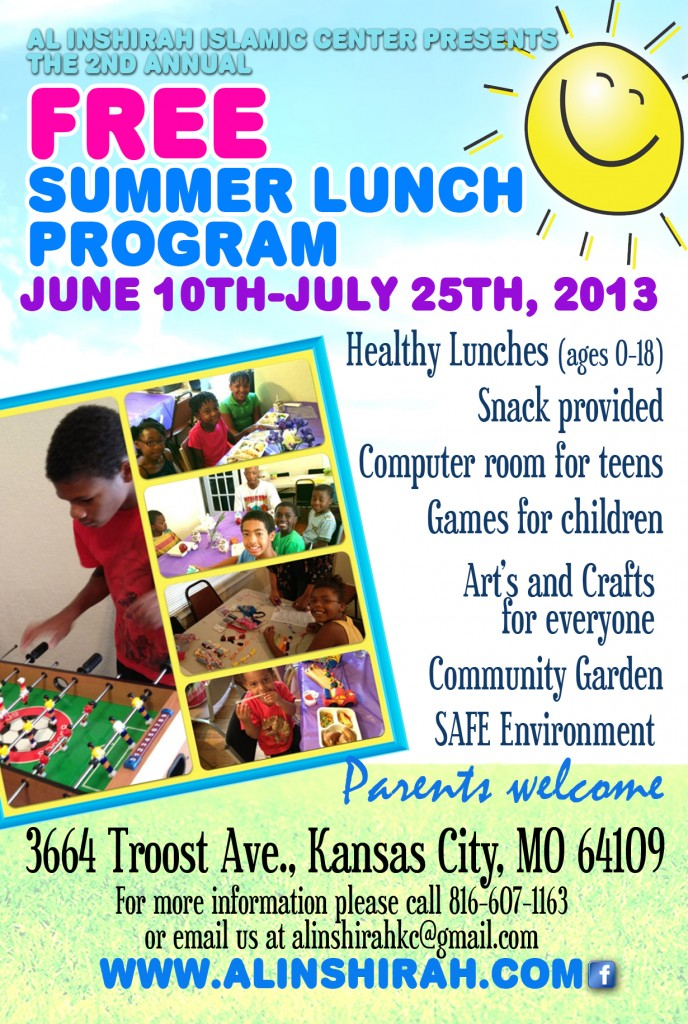 Al inshirah's 2nd Annual free Summer Lunch Program for kids